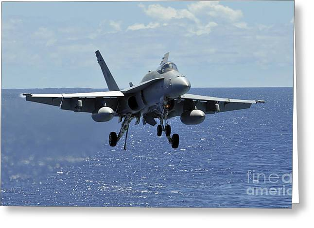 F-18 Greeting Cards - An Fa-18c Hornet Approaches The Flight Greeting Card by Stocktrek Images