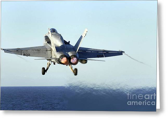 F-18 Greeting Cards - An Fa-18c Hornet Launches Greeting Card by Stocktrek Images