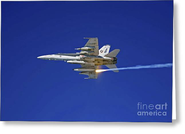 F-18 Greeting Cards - An Fa-18c Hornet Testing Its Flare Greeting Card by Stocktrek Images