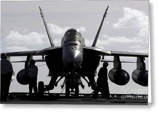 F-18 Greeting Cards - An Fa-18e Super Hornet On The Flight Greeting Card by Stocktrek Images