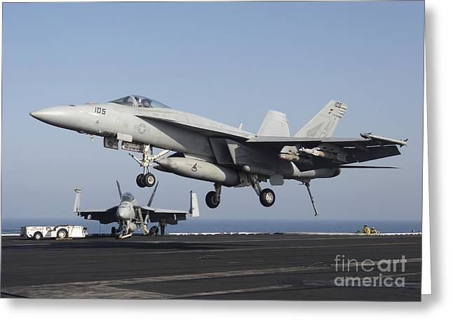 F-18 Greeting Cards - An Fa-18e Super Hornet Prepares Greeting Card by Gert Kromhout