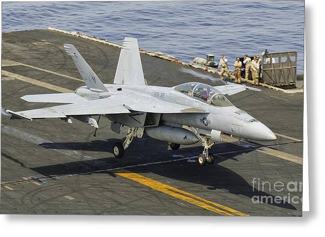 F-18 Greeting Cards - An Fa-18e Super Hornet Trap Landing Greeting Card by Giovanni Colla