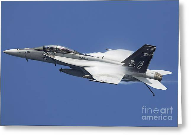 F-18 Greeting Cards - An Fa-18f Super Hornet In Flight Greeting Card by Gert Kromhout