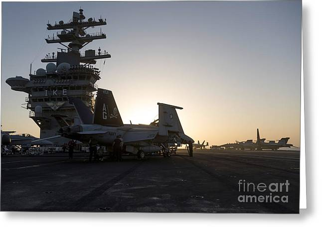 Superstructure Greeting Cards - An Fa-18f Super Hornet Is Inspected Greeting Card by Gert Kromhout