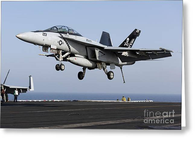 F-18 Greeting Cards - An Fa-18f Super Hornet Prepares Greeting Card by Gert Kromhout