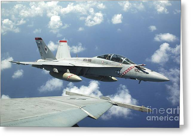 F-18 Greeting Cards - An Fa-18f Super Hornet Prepares Greeting Card by Stocktrek Images