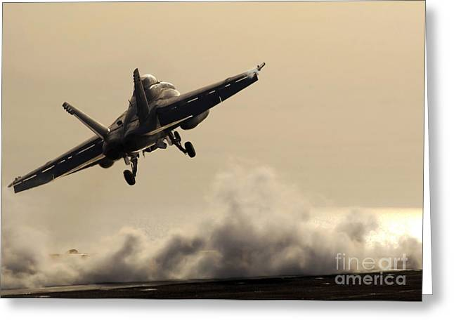 F-18 Greeting Cards - An Fa-18f Super Hornet Takes Flight Greeting Card by Stocktrek Images