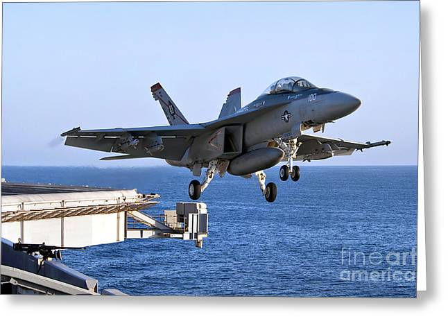 F-18 Greeting Cards - An Fa-18f Super Hornet Takes Greeting Card by Stocktrek Images