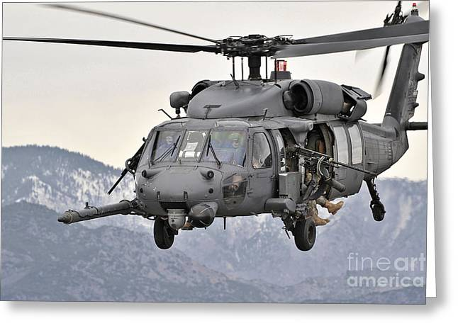 Rotary Wing Aircraft Photographs Greeting Cards - An Hh-60 Pave Hawk Helicopter In Flight Greeting Card by Stocktrek Images