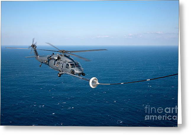 Refueling Greeting Cards - An Hh-60 Pave Hawk Refuels Greeting Card by Stocktrek Images