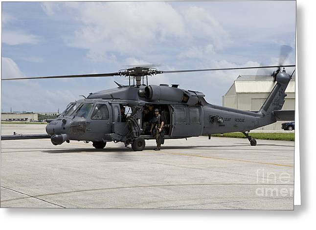 Utility Aircraft Greeting Cards - An Hh-60g Pave Hawk Prepares To Take Greeting Card by HIGH-G Productions