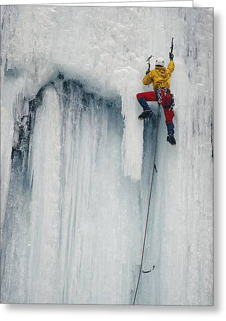 North Fork Greeting Cards - An Ice Climber Scaling The Pillar Greeting Card by Bobby Model