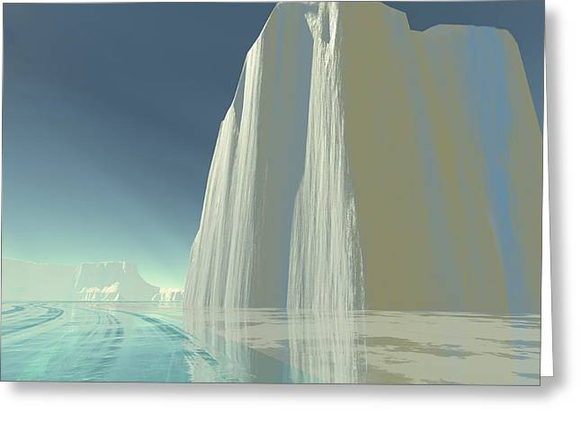 Ocean. Reflection Greeting Cards - An Iceberg Is Frozen In The Clear Ice Greeting Card by Corey Ford