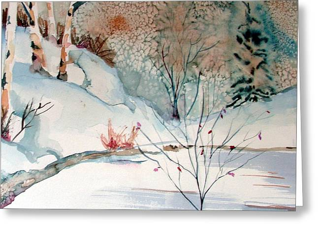 Brook Drawings Greeting Cards - An Icy Winter Greeting Card by Mindy Newman