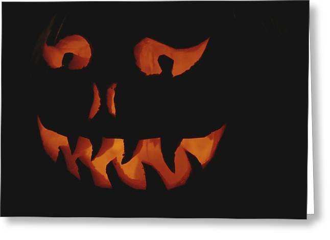 Light And Dark Greeting Cards - An Illuminated Jack-o-lantern Greeting Card by Stephen Sharnoff