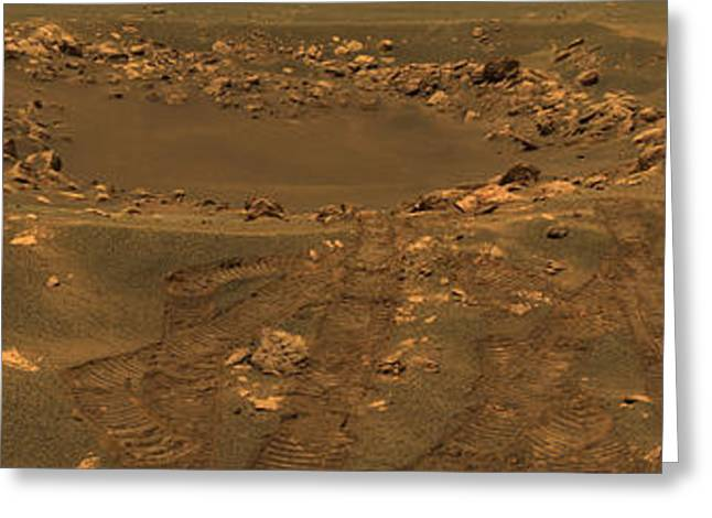 Experiment Greeting Cards - An Impact Crater In The Meridian Planum Greeting Card by Stocktrek Images