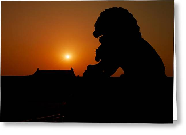 Symbol Of Power Greeting Cards - An Imperial Guardian Lion Statue Sits Greeting Card by Justin Guariglia