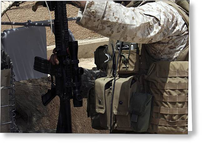 An Infantryman Talks To His Marines Greeting Card by Stocktrek Images