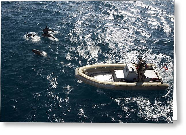 Inflatable Boats Greeting Cards - An Inflatable Boat Travels Alongside Greeting Card by Stocktrek Images