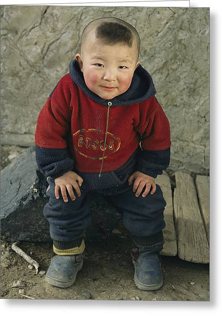 National Children Greeting Cards - An Informal Portrait Of A  Kazakh Child Greeting Card by David Edwards