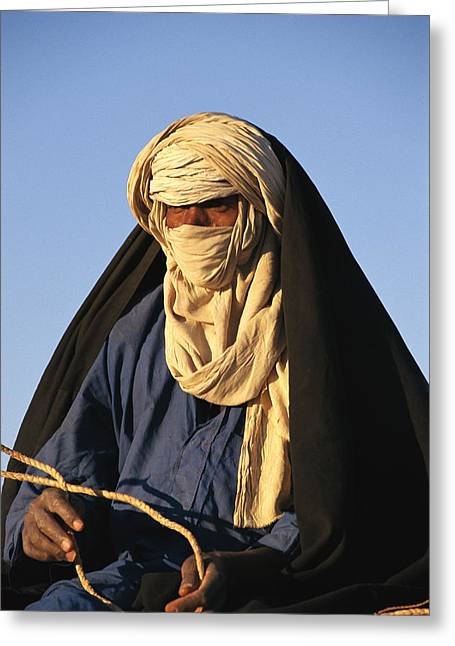 Informal Portraits Greeting Cards - An Informal Portrait Of A Tuareg Man Greeting Card by Michael S. Lewis