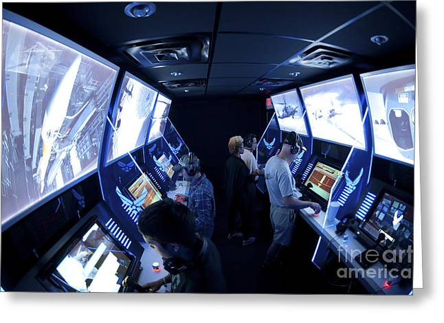 Command Center Greeting Cards - An Interactive Display Room Greeting Card by Stocktrek Images
