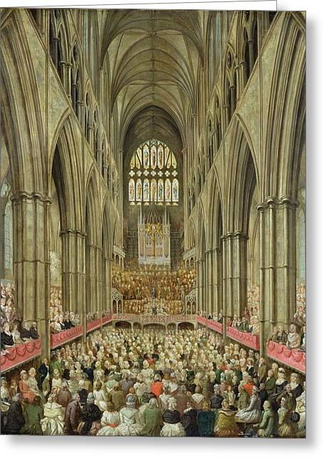 Ecclesiastical Architecture Greeting Cards - An Interior View of Westminster Abbey on the Commemoration of Handels Centenary Greeting Card by Edward Edwards