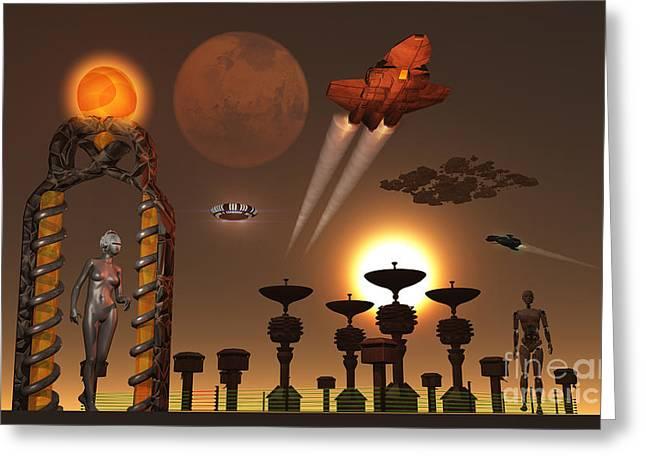 Interstellar Travel Greeting Cards - An Interstellar Relay Station Operated Greeting Card by Mark Stevenson