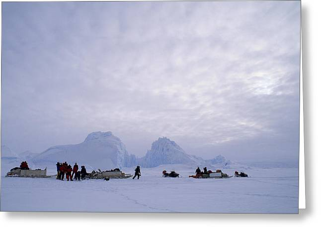 Ice And Warm Colors Greeting Cards - An Inuit-led Expedition Parks Greeting Card by Gordon Wiltsie