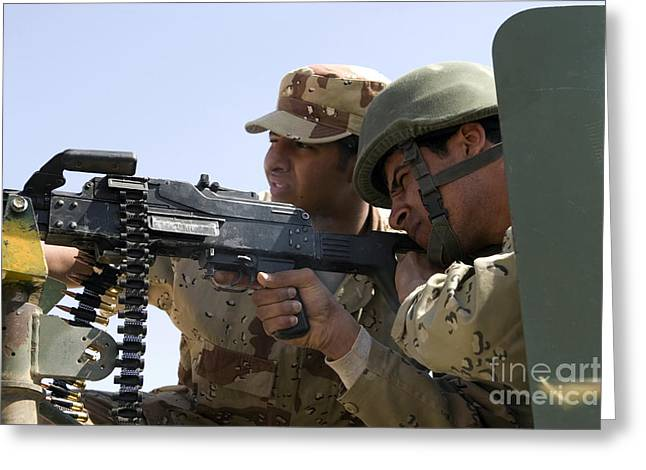 7.62mm Greeting Cards - An Iraqi Army Instructor Supervises An Greeting Card by Stocktrek Images