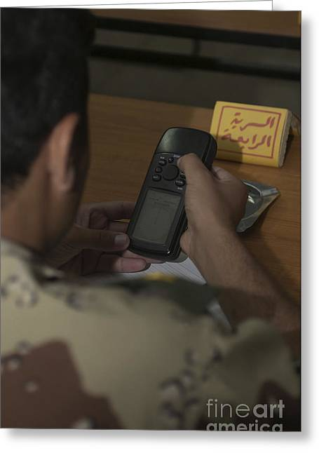 Iraqi Army Greeting Cards - An Iraqi Army Lieutenant Learns How Greeting Card by Stocktrek Images