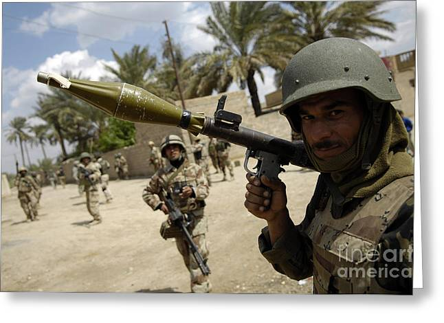 An Iraqi Army Soldier Provides Security Greeting Card by Stocktrek Images