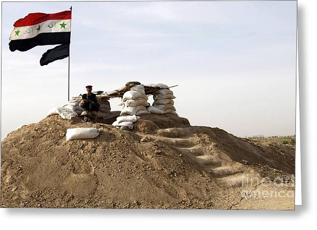 Iraqi Army Greeting Cards - An Iraqi Army Soldier Stands Guard Greeting Card by Stocktrek Images