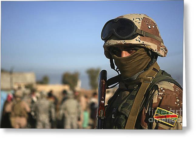 Iraqi Army Greeting Cards - An Iraqi Soldier Greeting Card by Stocktrek Images