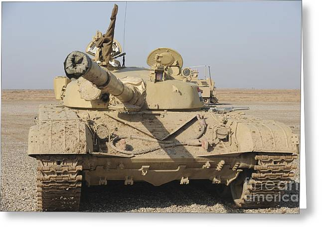 Iraqi Army Greeting Cards - An Iraqi T-72 Tank At The Besmaya Greeting Card by Stocktrek Images