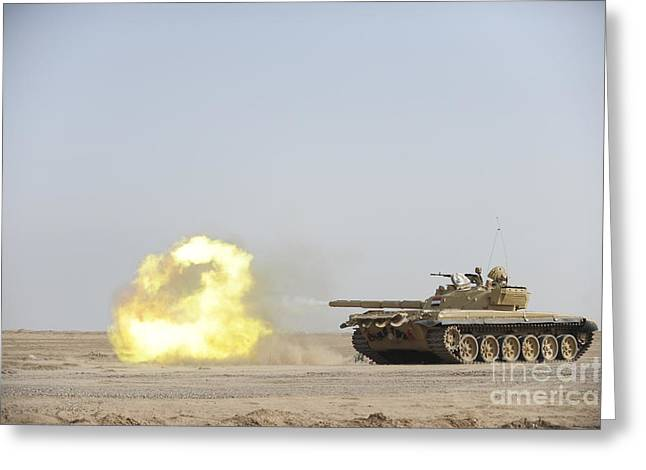 Iraq Conflict Greeting Cards - An Iraqi T-72 Tank Fires At The Besmaya Greeting Card by Stocktrek Images