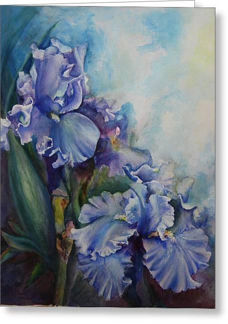 Analogous Greeting Cards - An Iris for My Love Greeting Card by Mary Wykes