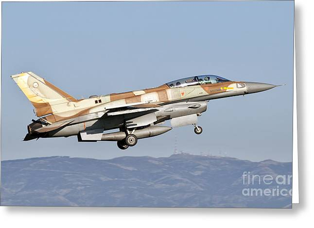 Foreign Military Greeting Cards - An Israeli Air Force F-16i Sufa Greeting Card by Giovanni Colla