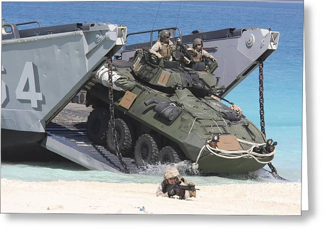 Up-armored Greeting Cards - An Lav-25 Exits A Landing Craft Utility Greeting Card by Stocktrek Images