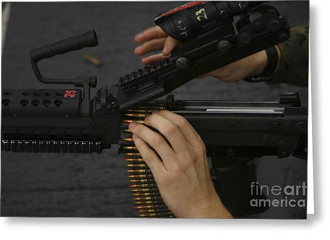 Fed Greeting Cards - An M-249 Squad Automatic Weapons Greeting Card by Stocktrek Images