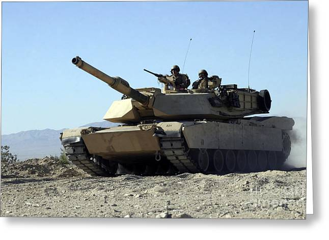 An M1a1 Main Battle Tank Greeting Card by Stocktrek Images