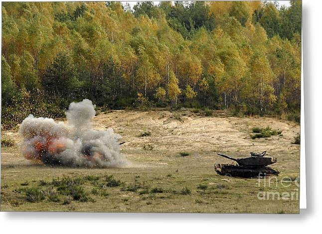 Army Tank Greeting Cards - An M60 Patton Tank Explodes Greeting Card by Stocktrek Images
