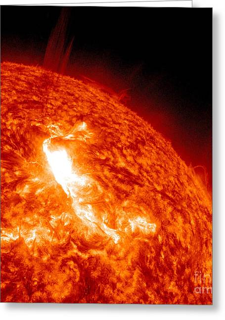 Solar Flare Greeting Cards - An M8.7 Class Flare Erupts On The Suns Greeting Card by Stocktrek Images