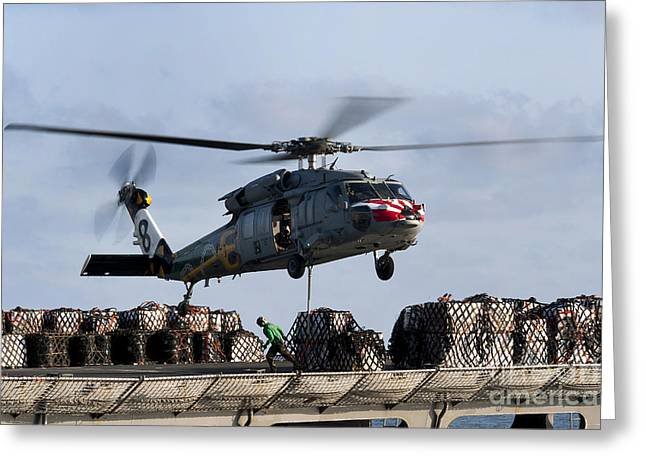 Operation Enduring Freedom Greeting Cards - An Mh-60s Sea Hawk Lifts Cargo Greeting Card by Stocktrek Images