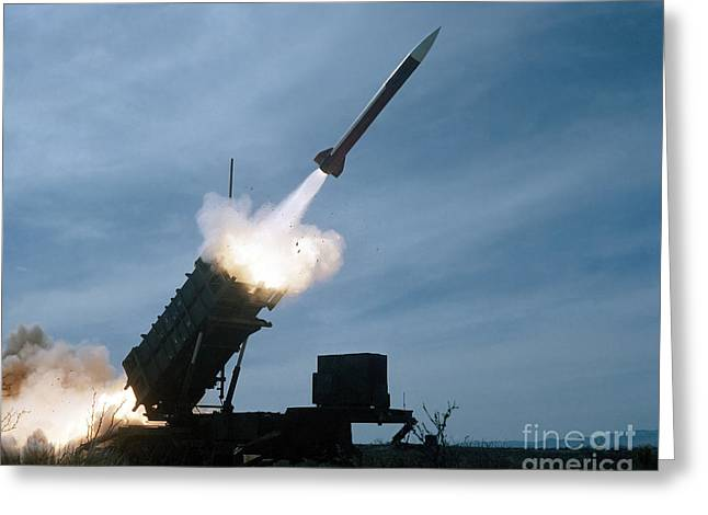 An Mim-104 Patriot Missile Is Test Greeting Card by Stocktrek Images