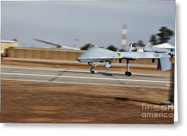 Iraq Greeting Cards - An Mq-1c Sky Warrior Uav Lands At Camp Greeting Card by Stocktrek Images
