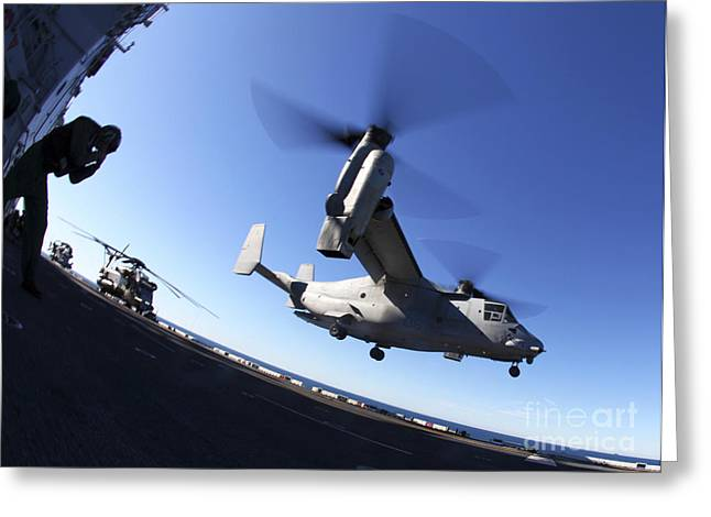 Military Airplanes Greeting Cards - An Mv-22 Osprey Lands Aboard The Uss Greeting Card by Stocktrek Images