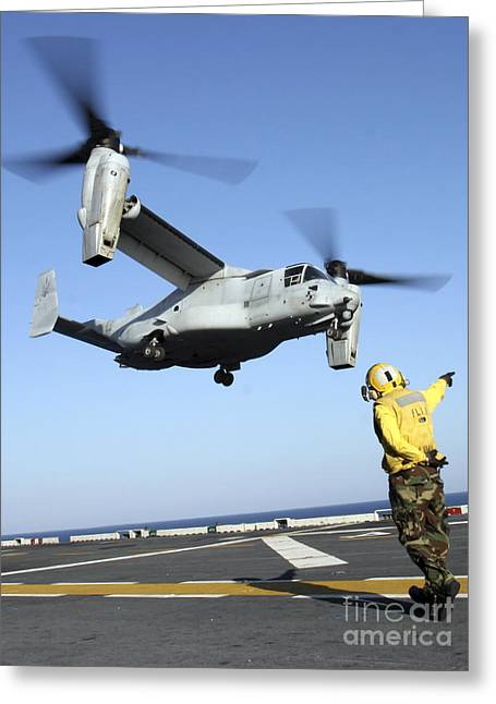 Flight Deck Greeting Cards - An Mv-22 Osprey Launches From The Uss Greeting Card by Stocktrek Images