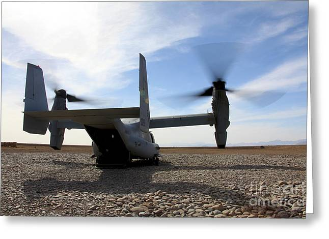 Mv Greeting Cards - An Mv-22 Osprey Sits Outside A Forward Greeting Card by Stocktrek Images