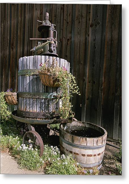 Pressed Flowers Greeting Cards - An Oak Barrel And Grape Press Fountain Greeting Card by Rich Reid